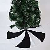 Gireshome 36'' Patchwork Black and White polar fleece Lollipop Design Christmas Tree Skirt XMAS Tree Decoration Merry Christmas Supplies Christmas Decoration
