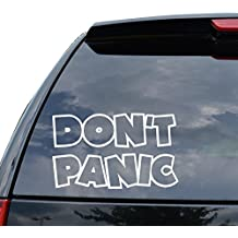 DON'T PANIC HITCHHIKERS GUIDE Decal Sticker Car Truck Motorcycle Window Ipad Laptop Wall Decor - Size (07 inch / 18 cm Wide) - Color (Matte BLACK)