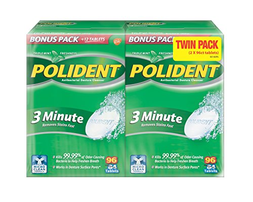 Improved Triple Mint Freshness - Polident Antibacterial 3 Minute Denture Cleanser 96 Tablets Per Box (Pack of 2)