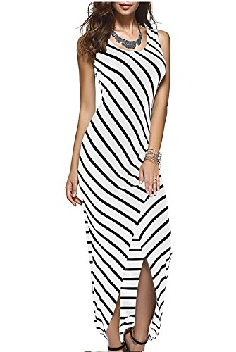 Women Black White Striped Boho Maxi Dresses 2016 Summer Style Sleeveless Beach Sexy Ladies Casual Long Dress Vestidos Plus Size Color:White Size:M
