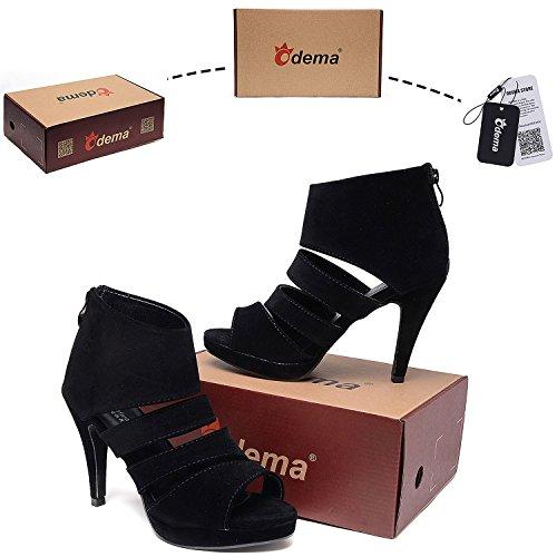 Odema Mujeres Moda Peep-toe Plataforma Tobillo Correa De Tacón Alto De La Bomba Del Zapato De La Sandalia Negro