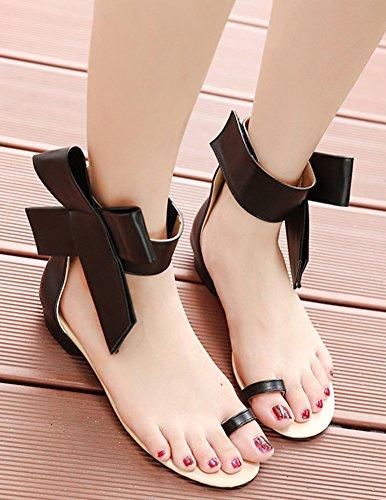 Nœud Confortable Plat Talon Sandales Femme Orteil Aisun Noir Papillon xS7XPqw