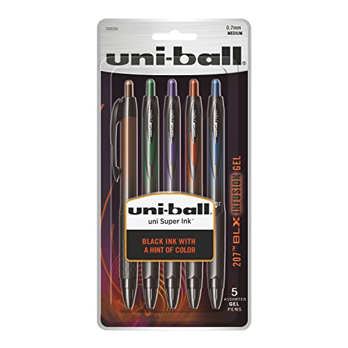 (uni-ball 207 BLX Infusion Retractable Gel Pens, Medium Point (0.7mm), Assorted Colors, 5 Count)