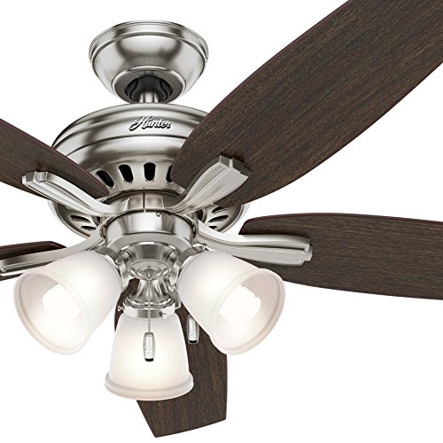 Hunter Fan 52 inch Brushed Nickel Ceiling Fan with a CFL Light Kit Renewed Brushed Nickel