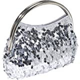 Jessica McClintock Prom Party Sequence V60139/42 Clutch,Silver,One Size, Bags Central