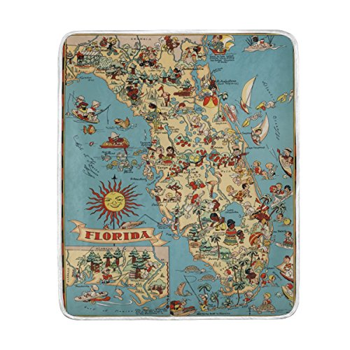 Vintage 1935 Florida State Map Throw Blanket, Lightweight Warm Polyester Blankets for Bed Couch Sofa Travelling Camping, 50 x 60 Inch -