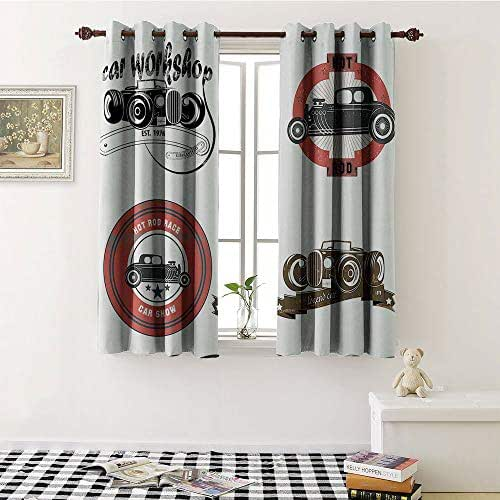 Cars Decor, Thermal Insulating Blackout Curtain, Retro Pop Art Style Automotive Emblem Print with Grunge Distressed Old Featured Color Properties, Blackout Draperies For Bedroom W72 x L72 Inch Multi