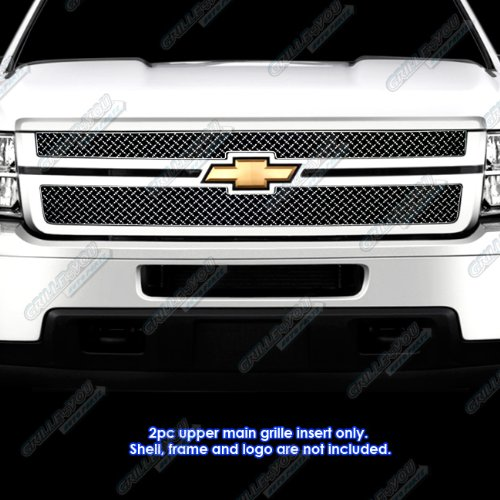 (APS Compatible with 2011-2014 Chevy Silverado 2500HD/3500HD Stainless Steel X-Mesh Grille Insert # CX6831K)