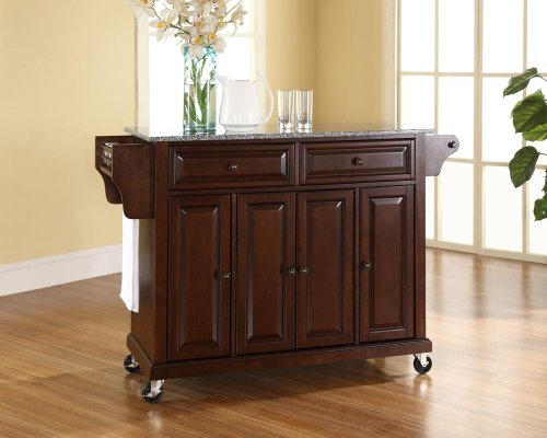 Crosley Furniture Rolling Kitchen Island with Solid Grey Granite Top - Vintage Mahogany