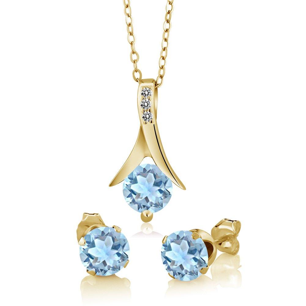 2.30 Ct Sky Aquamarine White Diamond 18K Yellow Gold Plated Silver Jewelry Set