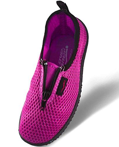 Wave Runner Quick Dry Wasserschuhe Aqua Socken Barfuß Slip-On mit Reißverschluss für Männer Frauen & Kinder Rosa