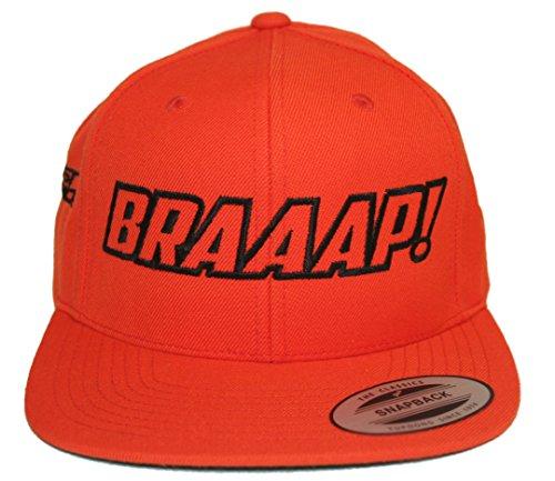 JUST RIDE Braaap Hat Flat Bill Snapback Motocross Sled (Orange-Black)