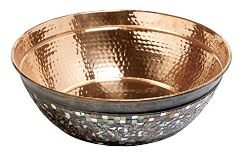 Sinkology SB302-16NU Sinkology Bardeen 16 Inch copper Vessel Sink Handmade Naked copper Sink with Glass Mosaics,