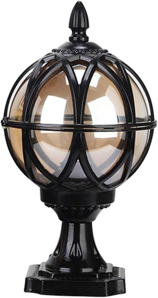 Luces de poste de iluminación exterior para exteriores, negro Hierro fundido y vidrio Retro E27 Lámpara de jardín Pedestal Bolardo Impermeable IP44 Patio exterior Cerca Villa Iluminación φ27.5 * H43CM