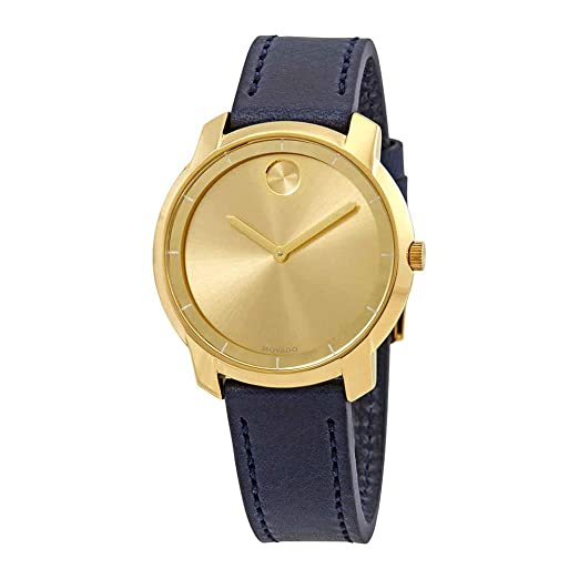 Movado - Reloj de pulsera para mujer, con esfera de oro amarillo y correa de piel, 3600474: Amazon.es: Relojes