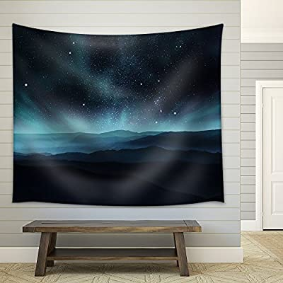 Starry Night Sky with Aurora Over The Hills Fabric Wall Medium