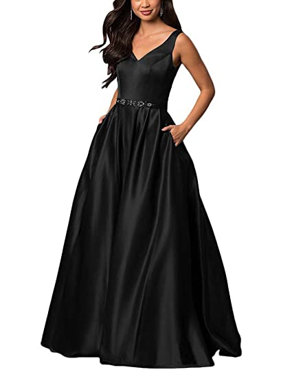 be4f2c4bc44c0 yinyyinhs V Neck Prom Dresses Long Stain Evening Ball Gowns Beaded Formal  Dress
