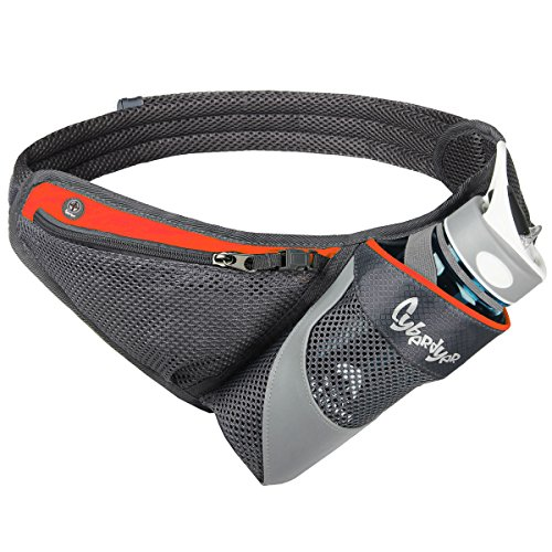 CyberDyer Running Belt Hydration Waist Pack with Water Bottle Holder for Men Women Waist Pouch Fanny Bag Reflective Fits iPhone 6/7 Plus (Orange)
