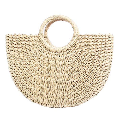 Women\'s Straw Bag Chic Handbag Woven Summer Beach Tote Bags with Round Handle Ring -