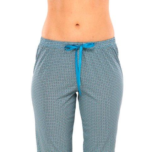 SCHIESSER, Selected! Premium, Damen Schlafanzug 3/4 Hose, Pyjama, Bamboo, türkis, 142011