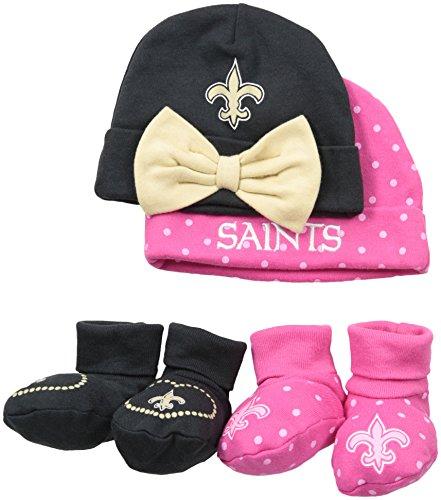 Gerber Childrenswear Dots 4 Pack Cap & Bootie Set, 0 - 6 Months, Pink, New Orleans Saints