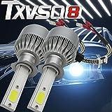DZT1968 2x H1 72W 7600LM CREE Car COB LED Headlight Kit Beam Bulbs 6000K High Power Silver