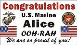 Alice Graphics 3ftX5ft Custom Personalized Congratulations U.S. (US) Marine Corps Basic Military Training Graduation Banner Sign
