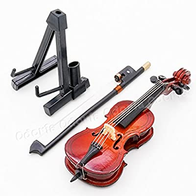 Odoria 1:12 Cello with Bow, Stand & Case Wooden Musical Instrument Miniaure Dollhouse: Toys & Games