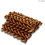 BBDOGO Braided Bully Stick for Dogs Natural Low-Odor Jumbo Dog Dental Treats Dog Chew Bones (Length 6 inches) CW042 (12 Pack)