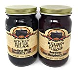 Kitchen Kettle Village Seedless Black Raspberry and Red Raspberry Jam, Kitchen Kettle Village (Amish Made), 10 Oz. Jars [1 of Each]