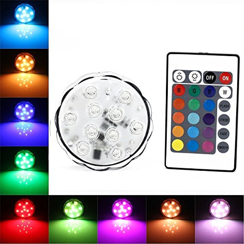 Convex Vase - BZONE RGB Multi-color Submersible LED Light, Underwater Waterproof Battery Powered LED Accent Lights Landscape Lamp with Remote Controller for Pond Swimming Pool Vase Bowl Fish Tank (Convex Mirror)
