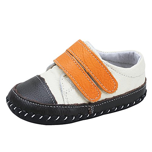 (Infant Baby Boys Girls Genuine Leather Soft Bottom Non-Slip First Walkers Shoes (12.5cm(12-18months), Beige+Orange))