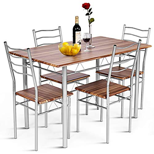 Giantex Modern 5 Piece Dining Table Set with 4 Chairs Metal Frame Wood Like Kitchen Furniture Rectangular Table & Chair Sets for Dining Room (Shallow Walnut)