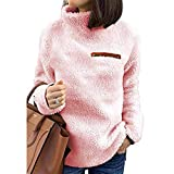 WOCACHI Final Clear Out Womens Sweater Turtleneck Pullover Jumpers Zipper Decor Tops Blouses Winter Casual Solid Color Warm Thick Plush Suede (Pink, Medium)