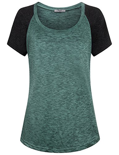 Cestyle Ladies Short Sleeve Raglan Tee,Green Woman's Funny Shirts Scoop Neck Stitching T-Shirt 2018 Cool Casual Baseball Street Tees Juniors Sports Exercise Running Raglan T-Shirt Tops Medium
