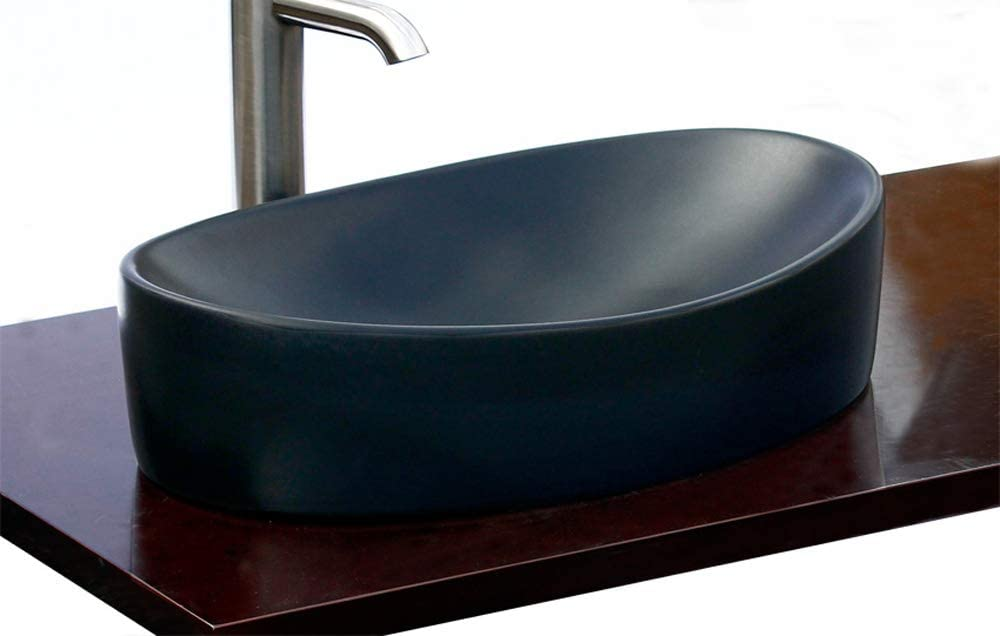 Bathroom Matte Black Ceramic Porcelain Vessel Vanity Sink 7756cmb Free Pop Up Drain