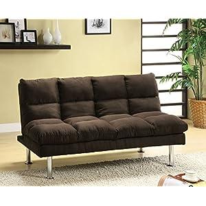 Saratoga II Contemporary Style Design Espresso Finish Microfiber Pillow Top Futon Sofa with Chrome Finish Support Legs