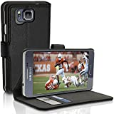 iGadgitz Premium Wallet Flip Black PU Leather Case Cover for Samsung Galaxy Alpha SM-G850F with Card Slots + Multi-Angle Viewing Stand + Screen Protector