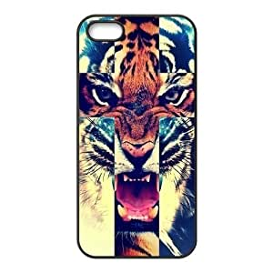 iPhone 5 5S Case,Tiger Roar Cross Hipster Quote Jesus Christ Cross Combo Hign Definition Wonderful Design Cover With Hign Quality Hard Plastic Protection Case
