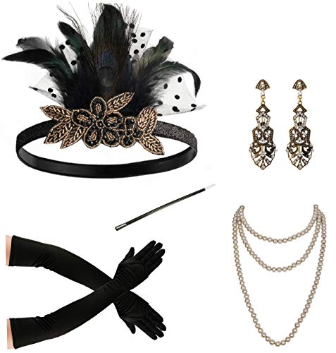 Zivyes 1920s Accessories Feather Headband Earrings Pearl Necklace Gloves Cigarette Holder ()