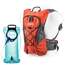 Overmont hiking backpack for containing a hydrating bladder 2.5 liters backpack cyclist(total capacity 10 L) for outdoor sports long voyage climbing in open air(Orange) with 2L TPU Hydration Bladder