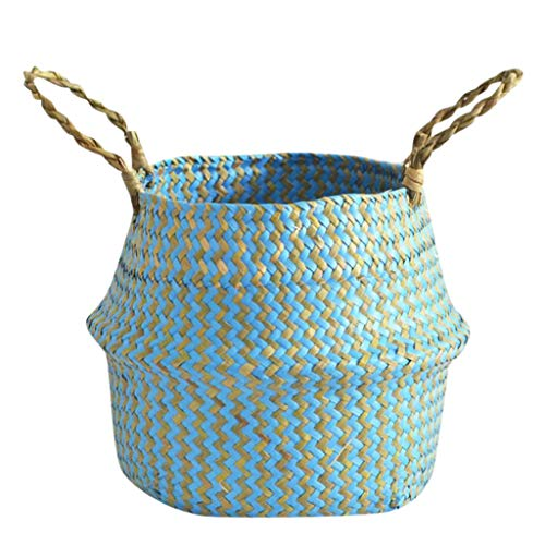 wuliLINL Wicker Plant Basket with Water Hyacinth Modern Indoor Planter Up to Pot Woven Storage Organizer with Handles Home Decor ()