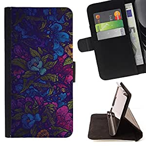 DEVIL CASE - FOR Apple Iphone 5 / 5S - Colorful Flowers Wallpaper Fabric Design Pattern - Style PU Leather Case Wallet Flip Stand Flap Closure Cover