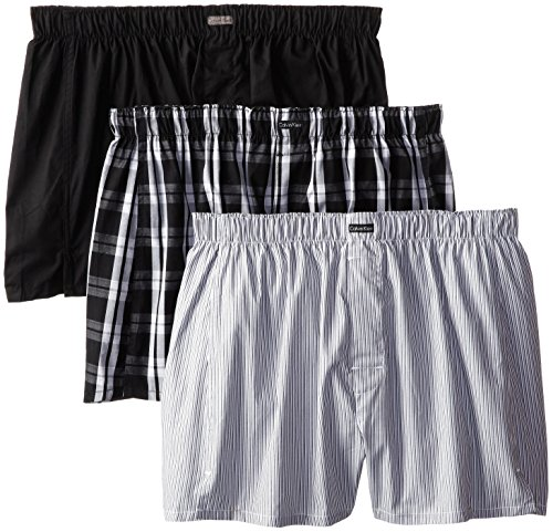 Calvin Klein Men's Cotton Classics 3 Pack Boxers, Montague Stripe/Black/Morgan Plaid, Large