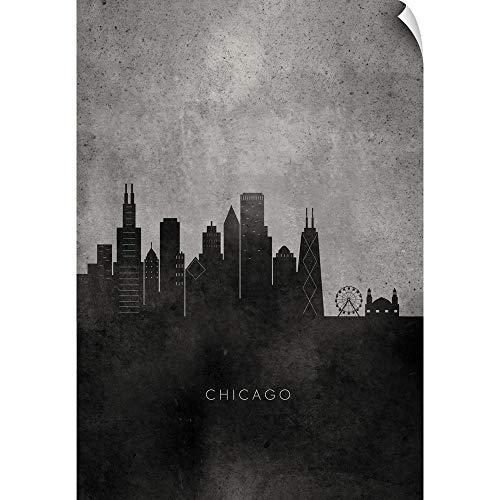 - CANVAS ON DEMAND Black and White Minimalist Chicago Skyline Wall Peel Art Print, 20