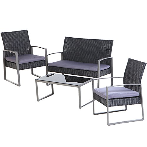 Grand patio 4 PC Outdoor Wicker Furniture Set Modern Outdoor Garden Rattan Loveseat Sofa Cushioned For Sale