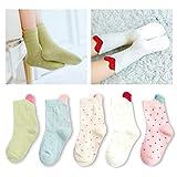 Kidstree Cute Kids Toddler Girls Cotton Crew Socks 5 Pairs Pack Love X-Large (9-12)