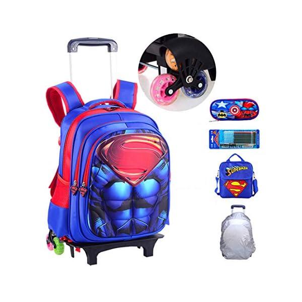MODRYER Bambini Zaino Impermeabile Superhero Schoolbag elementare Studenti Ruote Zaino Salire Le Scale Trolley Leggero… 1 spesavip