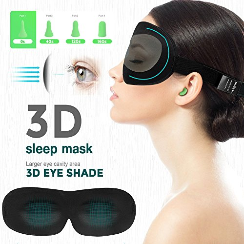 3D Contoured Sleep Mask with Earplugs, Adjustable Eye Masks for Sleeping, Lightweight and Comfortable, Best Eyeshades for Travel, Shift Work, Naps, Night Blindfold(5th Generation) (Black) by Smartmago (Image #5)