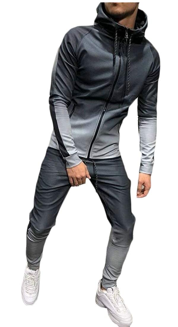 Lutratocro Mens Fleece 2 Piece Workout Fall//Winter Slim Fit Hooded Tracksuit Set